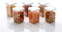 GNM Square Shape Container | Easy Flow Cereal Dispenser Storage | Jar Dabba Box For Kitchen 1100 ml (Pack Of 6)(White)
