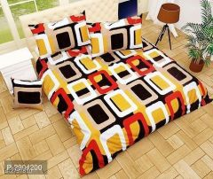 VINODTRADERS Designer Microfiber Double Bedsheets with Two Pillow Covers | Pack of 1