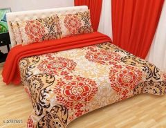 VINODTRADERS Designer Microfiber Double Bedsheets with Two Pillow Covers   Pack of 1