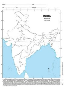 Premium Quality India Political Blank Map For Practice (100 Sheets) (Pack of 1)