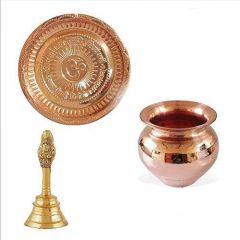 Best Deal Combo of Copper Pooja Thali, Kalash Lota, Pooja Ghanti