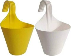 High-Quality Plastic Railing Hook Plant Container Pot (Multi-Color) (Pack of 2)