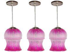 VAGalleryKing Decorative Hanging Pendant Ceiling Lamp Pack Of 3 | Pink