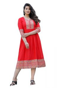 Women's Rayon Printed Anarkali Kurti Full Flair Pure Cotton Gown for All Occasion Office wear | Casual wear