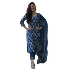 Women's Cotton Straight Printed Kurti With Pant And Dupatta Set