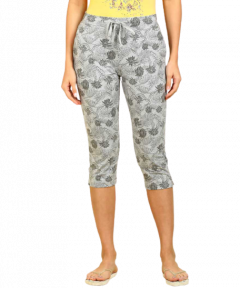 JOCKEY Ultrasoft and Durable Waistband Printed Capri For Women's (Grey) (Pack of 1)
