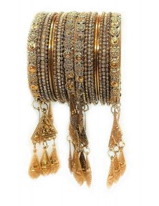 Priya Kangan Classic Antique Look Gold Plated with Studded Pearl Traditional Latken/Hanging Bangles Set for Women and Girl