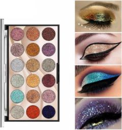 Flikerway Eye Makeup Cosmetics 18 Color Sequins Professional Salon Glitter Shiny Eyeshadow 160g (Multicolor) (Pack of 1)