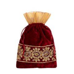 Prakashstore Velvet Traditional Potli Bags for Return Gifts Large 25x27cm For Women (Maroon)