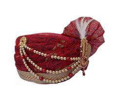 Prakashstore Jodhpuri Mens Wedding Safa, Groom Pagdi, Turban For Marriage (Maroon & Red)
