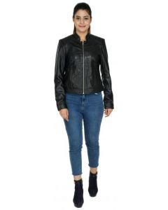 ASPENLEATHER PU Leather Black Jacket For Womens
