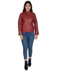 ASPENLEATHER Pu Leather Maroon Jackets For Women