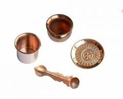 Combo Pack Copper Puja Items Mandir Pooja Material: Copper (Item Size: 9 cm x 9 cm x 9 cm) (Pack of 4)