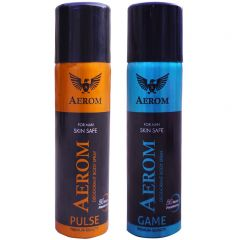 Aerom Pulse and Game Deodorant Body Spray For Men 300 ml (Pack of 2)