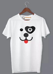 Frndmart Unique Fashionable & Stylish Puppy Round Neck Printed T-Shirt For Men's (White)