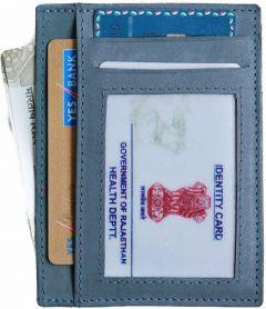 Men Blue Genuine Leather RFID Card Holder-Tishta-015
