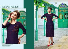Sunsim Fashion Comfortable And Regular Fit Rayon Embroidery 3/4th Sleeve Casual Kurtis For Women's (Purple)