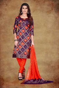 Women's Cotton Wool Blend Self Design Printed Unstitched Salwar Suit with Fabric Dupatta