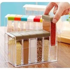6 In 1 Masala Box | Spice Rack | Seasoning Box | 6 Pcs With Stand | New Beautiful Design | Durable (Pack Of 1)