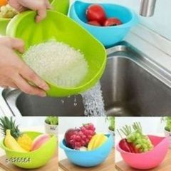 Plastic Washing Bowl And Strainer For Rice, Fruits, Vegetable, Noodles, Pasta For Storing And Straining (Pack Of 1)