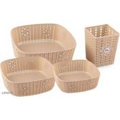Plastic Small Size Multipurpose Solitaire Storage Basket With Lid (Pack Of 4)