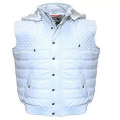 ASPENLEATHER Franchise Club Quilted Hooded Leather Vest For Men (White)