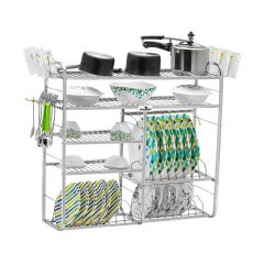 Homify Stainless Steel Polo Wall Mount Modern Kitchen Rack (30 Inch) (5 Layer)