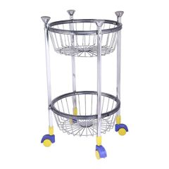 PALOMINO Stainless Steel Fruit and Vegetable Round Kitchen Rack Trolley (2 Tier)