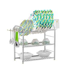 PALOMINO Stainless Steel 3-Layer Shelf Wall Mount Kitchen Dish Rack With Plate & Cutlery Stand (Silver)