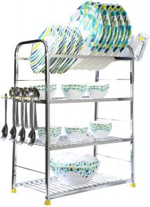 PALOMINO Stainless Steel 4-Layer Shelf Wall Mount Kitchen Dish Rack With Plate & Cutlery Stand (Silver)