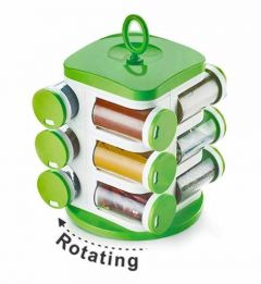 Revolving Plastic Spice Rack Jar Standard container (Color: Green) (12 in 1)