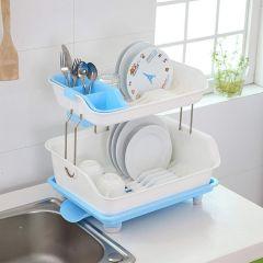 2 Layer Kitchen Organizer Sink Dish - Cutlery Drying Organizer Drainer Drying Kitchen Storage Rack & Washing Holder Basket