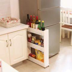 3 Layer Slim Storage Organizer Rack with Wheels for Kitchen, Bedroom, Bathroom