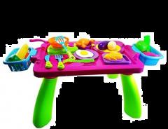 MohitEnterprises | MohitEnterprises | Toddler Toy Stylish Table Kitchen Play Set With Side Basket - 38 Pieces