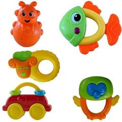 Non Toxic Rattle Toys For New Born Babies Infants And Toddlers With Various Exciting Toys (Pack Of 5 Pcs)