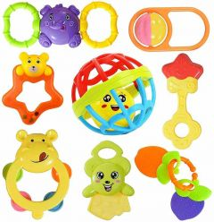 Colourful Plastic Non Toxic Set Of Attractive Rattle Toys For New Borns And Infants (Pack Of 8Pcs)