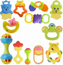 Colorful Non Toxic Bpa Free 10 Rattles Toys Set For Babies ,Infants (Pack Of 10)
