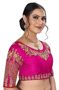 HarshitShop Women's Round Neck Design Hand Embroidery and Thick Thread Work Stitch Readymade Blouse