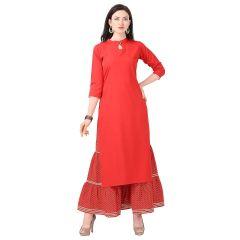 G.P Daisy Crepe Fabirc Printed Ethnic Wear Kurti with Sarara Womens (Color:-Red)
