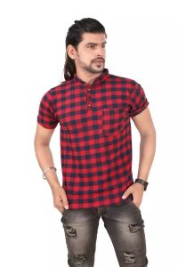Frndmart 100% Cotton Red and Black Strips T-shirt For Men's