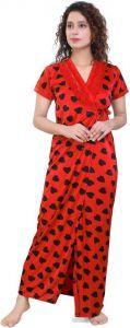 Mrghafeb Stylish & Fashionable Regular Full Length Satin Night Wear/Sleep Wear for Women's (Pack of 1)