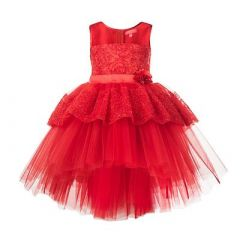 Baby Girl's Summer Kids Sequined Sleeveless Floral Applique Short Balloon Flared Party Wear Dress