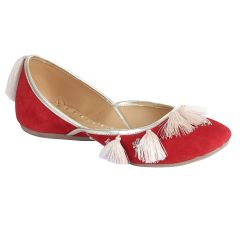 Sakhicollection Women's Leather Classic Style Ethnic/Traditional -Jutti/Mojari for Women (Red)