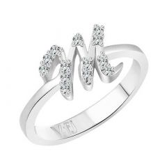 M Letter Silver & Rhodium Plated Alloy Ring, CZ Type Stone for Women (Pack of 1)