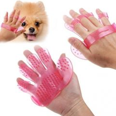 Rubber Pet Cleaning Massaging Grooming Glove Brush