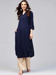 Women Solid Rayon Straight Kurta(Blue)