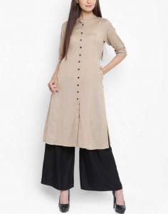 Women Solid Cotton Blend Straight Kurti