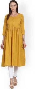 Women Solid Cotton Rayon Blend Straight Kurta(Yellow)