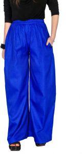 Regular Fit Women Cotton Jute Blend Trousers - Dark Blue