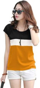 Casual Short Sleeve Solid Women Yellow Top